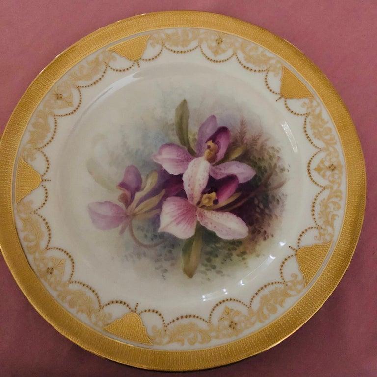 Set of Twelve Exceptional Lenox Orchid Dinner Plates Artist Signed W. H. Morley For Sale 2