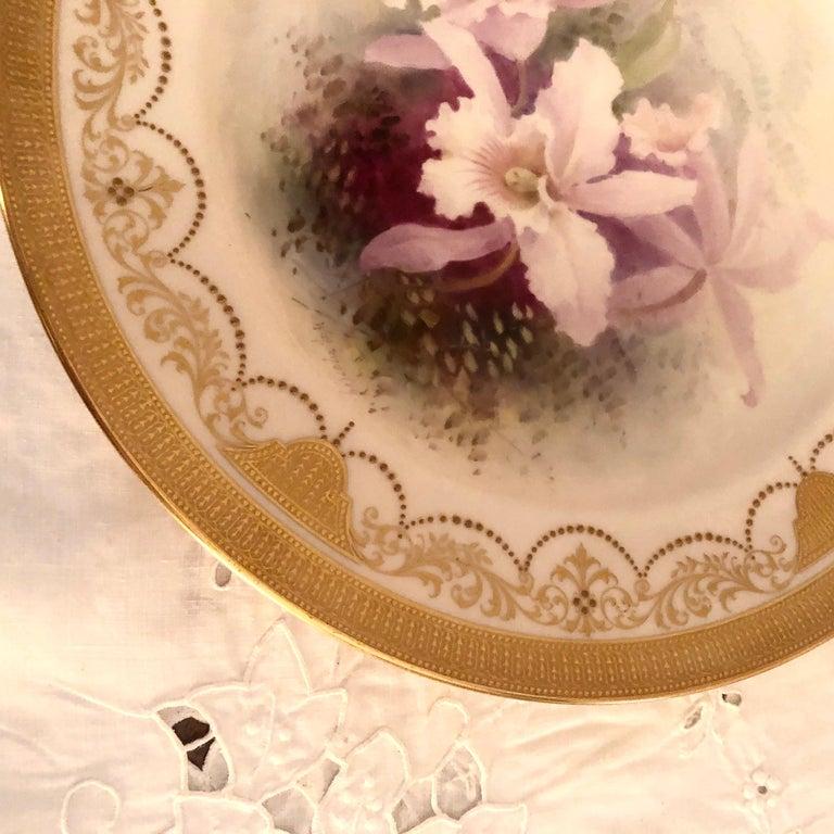 Set of Twelve Exceptional Lenox Orchid Dinner Plates Artist Signed W. H. Morley For Sale 4