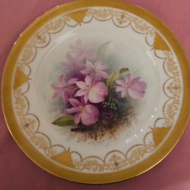 These are a set of 12 Lenox orchid plates from the 1920s. Each one is hand painted with a different orchid by W. H. Morley, who is a famous Lenox artist who specialized in painting flowers. These are museum quality paintings of orchids. There is a