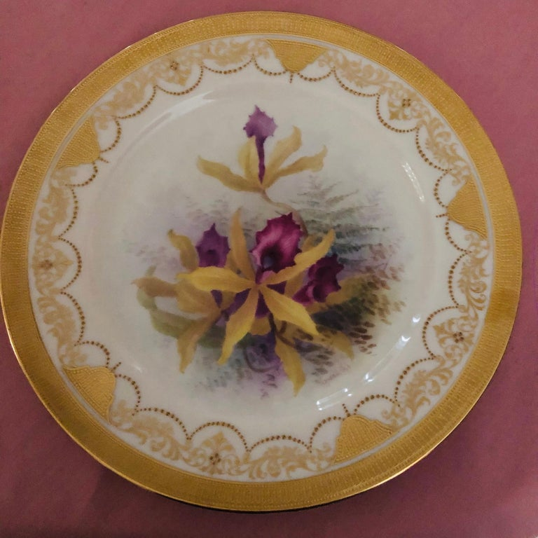 Other Set of Twelve Exceptional Lenox Orchid Dinner Plates Artist Signed W. H. Morley For Sale