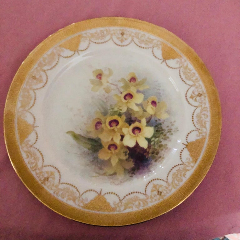 Hand-Painted Set of Twelve Exceptional Lenox Orchid Dinner Plates Artist Signed W. H. Morley For Sale