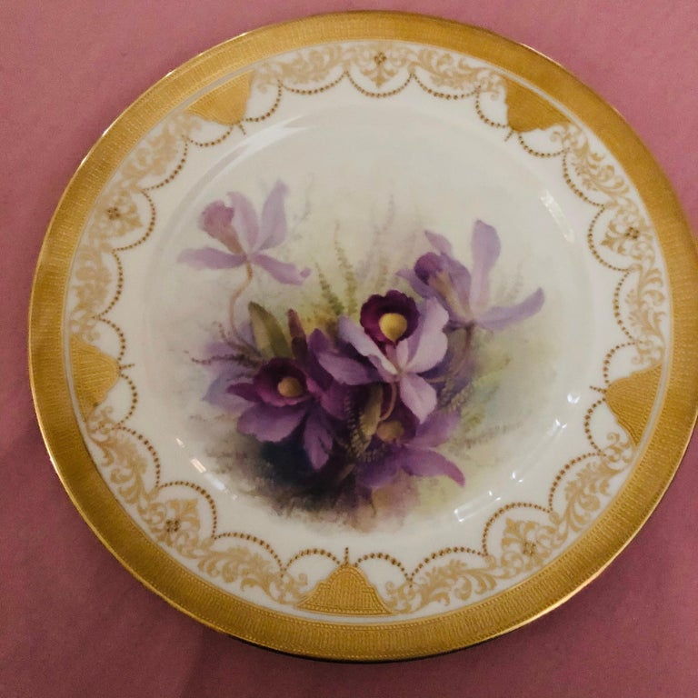 Set of Twelve Exceptional Lenox Orchid Dinner Plates Artist Signed W. H. Morley In Excellent Condition For Sale In Boston, MA