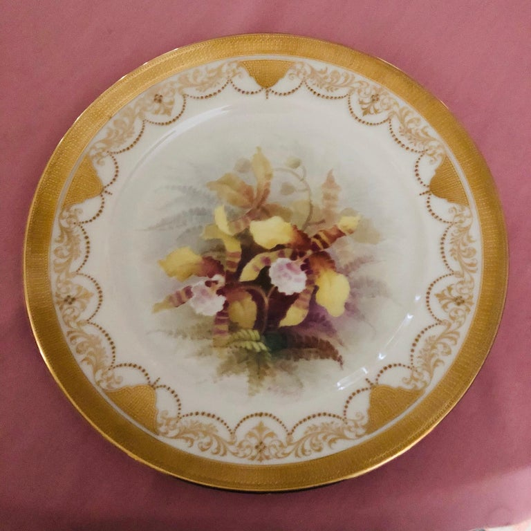 Early 20th Century Set of Twelve Exceptional Lenox Orchid Dinner Plates Artist Signed W. H. Morley For Sale