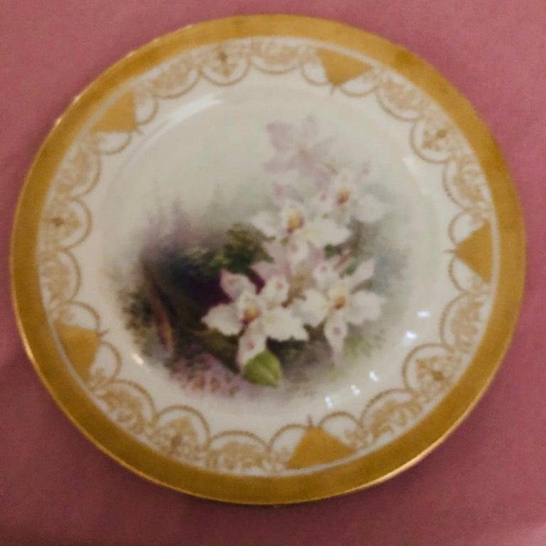 Porcelain Set of Twelve Exceptional Lenox Orchid Dinner Plates Artist Signed W. H. Morley For Sale