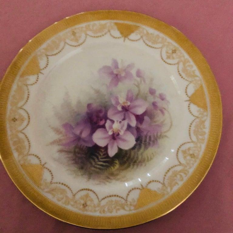 Set of Twelve Exceptional Lenox Orchid Dinner Plates Artist Signed W. H. Morley For Sale 1