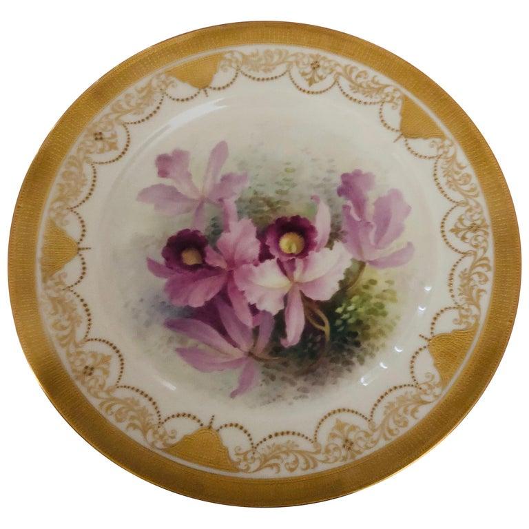Set of Twelve Exceptional Lenox Orchid Dinner Plates Artist Signed W. H. Morley For Sale