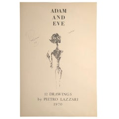 """Set of Twelve Expressionist Signed Drawings by Pietro Lazzari """"Adam & Eve"""""""