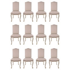 Set of Twelve French 19th Century Louis XV Style White Washed Oak Dining Chairs