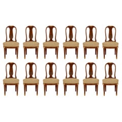 Set of Twelve French 19th Century Louis XVI Style Mahogany Dining Chairs