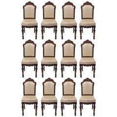 Set of Twelve French 19th Century Walnut Dining Chairs