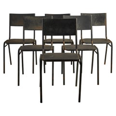 Set of Twelve French Black Metal Chairs