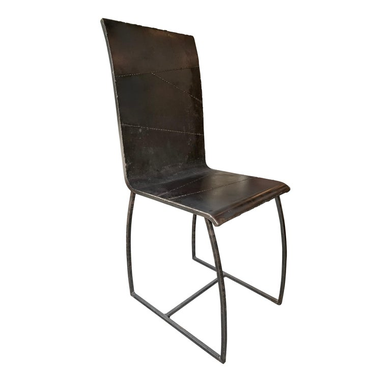 Set of Twelve French Brutalist Dining Chairs In Good Condition For Sale In Chicago, IL