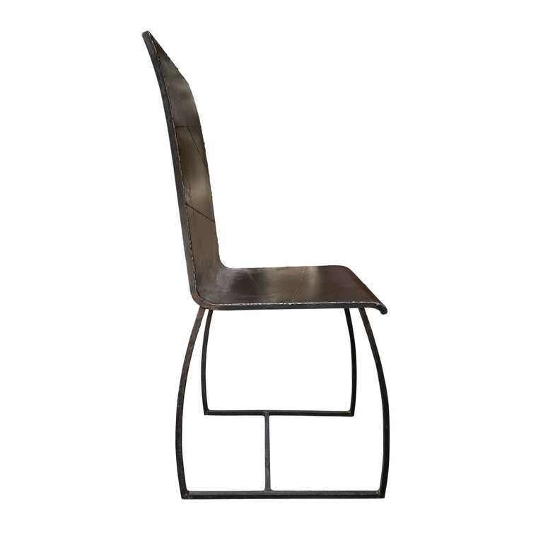 Contemporary Set of Twelve French Brutalist Dining Chairs For Sale