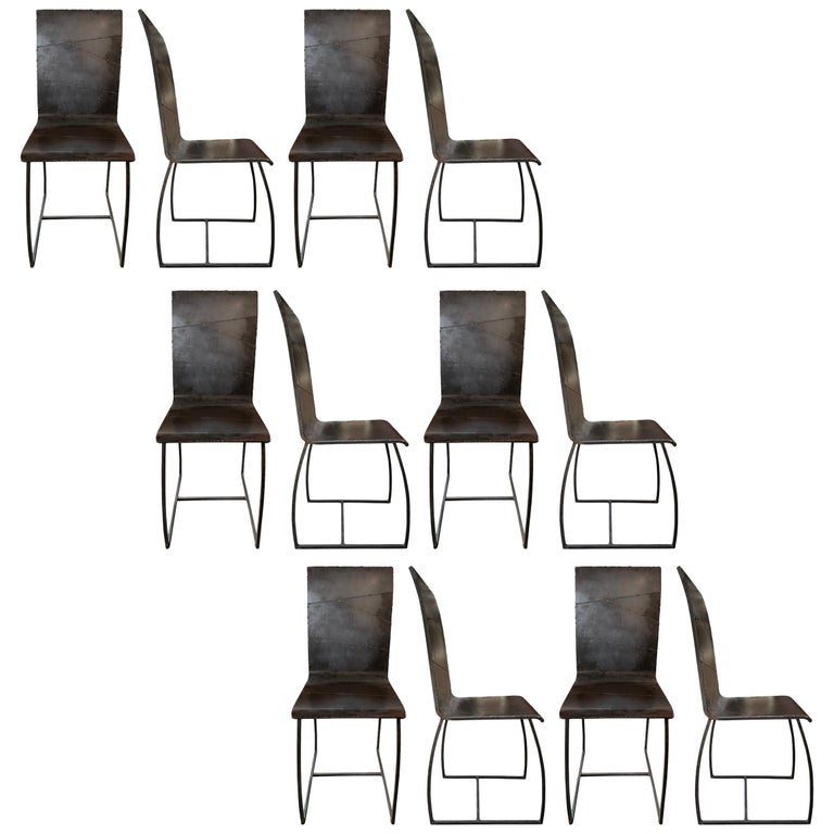Set of Twelve French Brutalist Dining Chairs For Sale