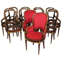Set of Twelve French Louis XVI Style Ormolu Mounted Dining Chairs