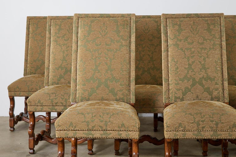 Hand-Crafted Set of Twelve French Louis XIV Os de Mouton Style Dining Chairs For Sale