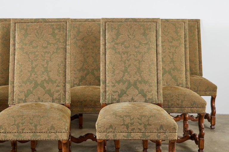 Set of Twelve French Louis XIV Os de Mouton Style Dining Chairs In Good Condition For Sale In Rio Vista, CA