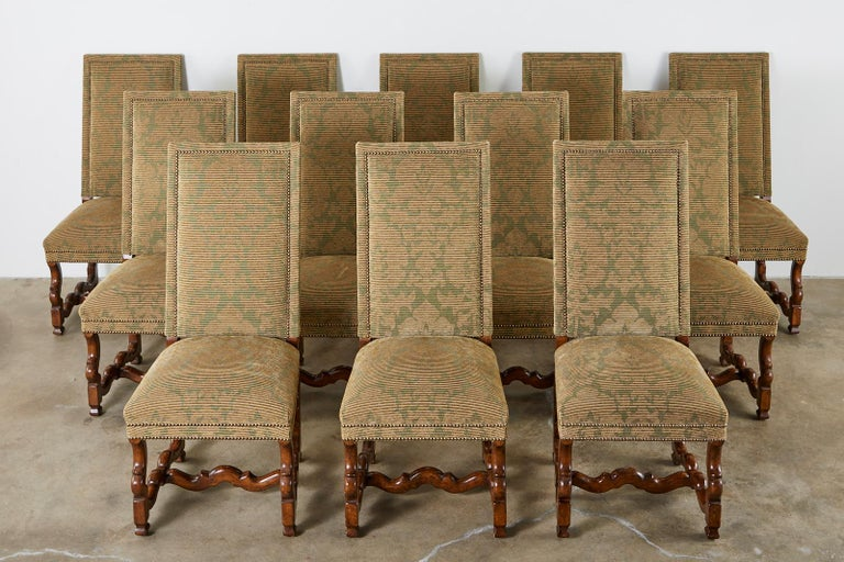 20th Century Set of Twelve French Louis XIV Os de Mouton Style Dining Chairs For Sale