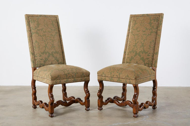 Set of Twelve French Louis XIV Os de Mouton Style Dining Chairs For Sale 1