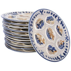 Set of Twelve French Oyster Plates