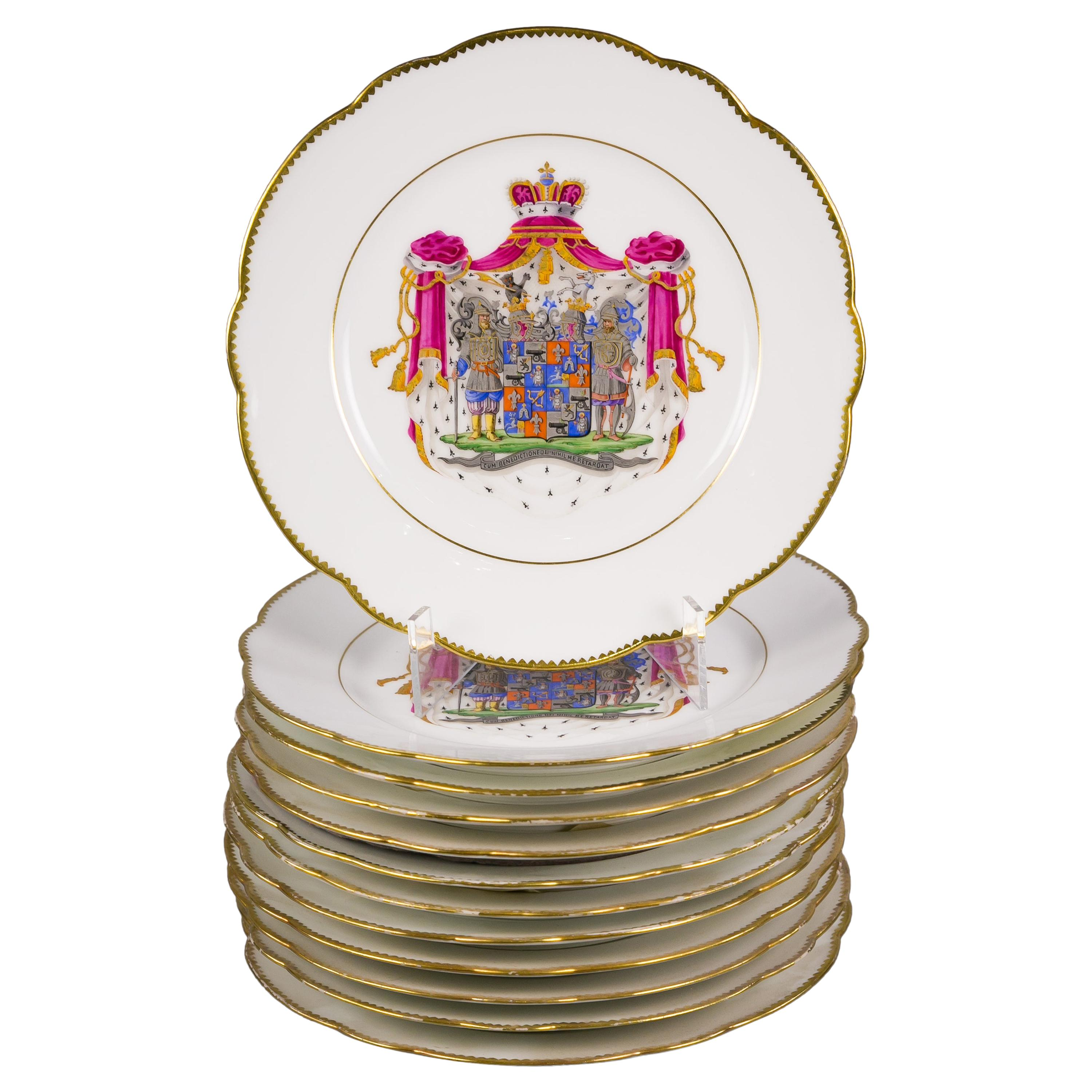 Set of Twelve French Porcelain Armorial Lunch Plates, circa 1880