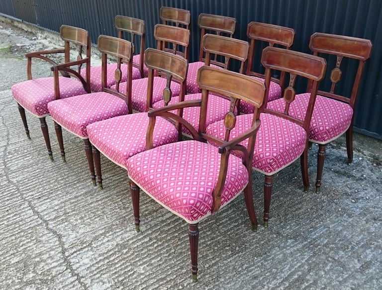 British Set of Twelve George III Period Mahogany Antique Dining Chairs For Sale