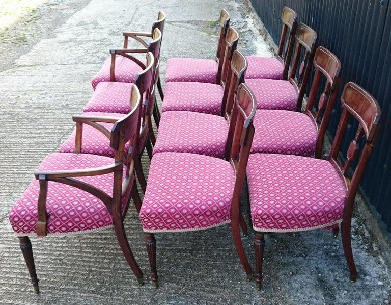 Set of Twelve George III Period Mahogany Antique Dining Chairs In Good Condition For Sale In Gloucestershire, GB