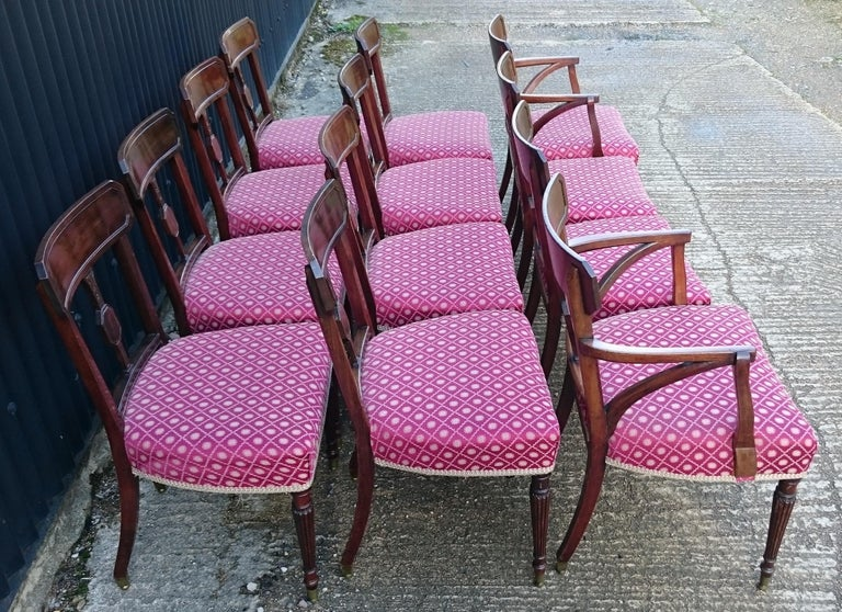 19th Century Set of Twelve George III Period Mahogany Antique Dining Chairs For Sale