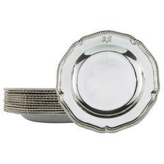 Set of Twelve Georgian Sterling Silver Dinner-Plates