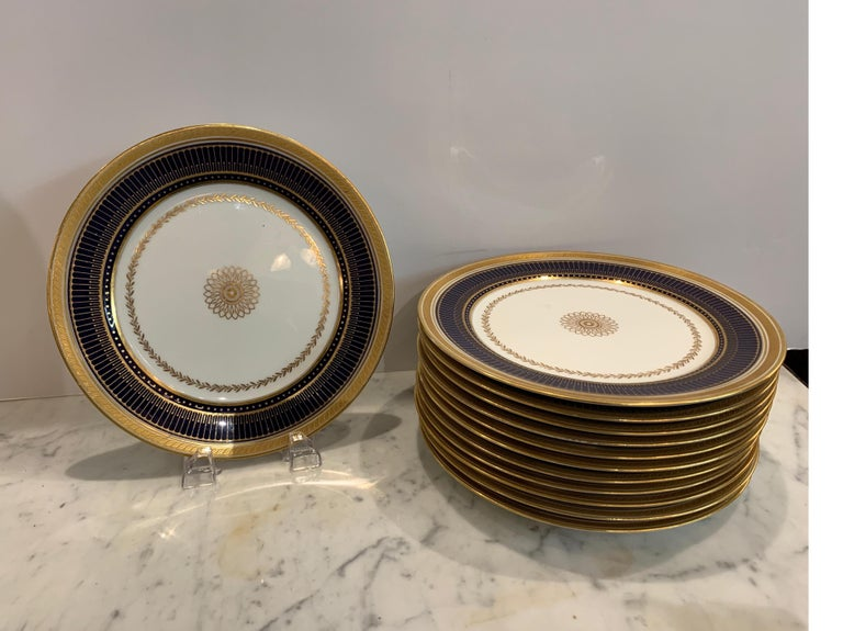 English Set of Twelve Gold Gilt and Cobalt Service Plates BWM & Co. for Gillman, NYC For Sale