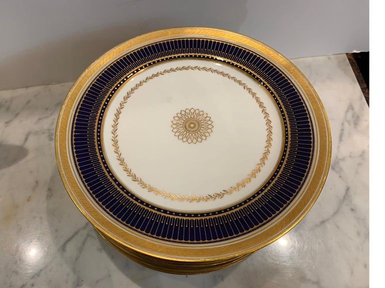 20th Century Set of Twelve Gold Gilt and Cobalt Service Plates BWM & Co. for Gillman, NYC For Sale
