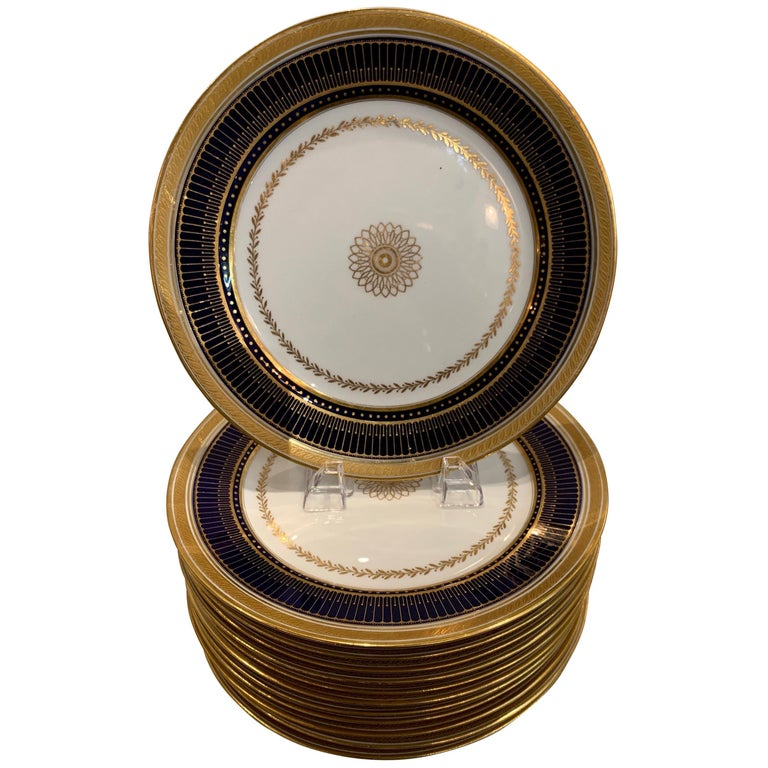 Set of Twelve Gold Gilt and Cobalt Service Plates BWM & Co. for Gillman, NYC For Sale