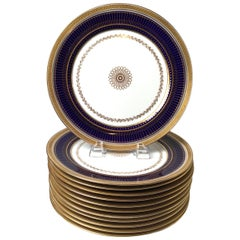 Set of Twelve Gold Gilt and Cobalt Service Plates BWM & Co. for Gillman, NYC