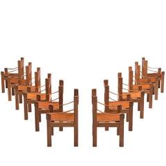 Set of Twelve Pierre Chapo 'S371' Grand Chairs in Cognac Leather