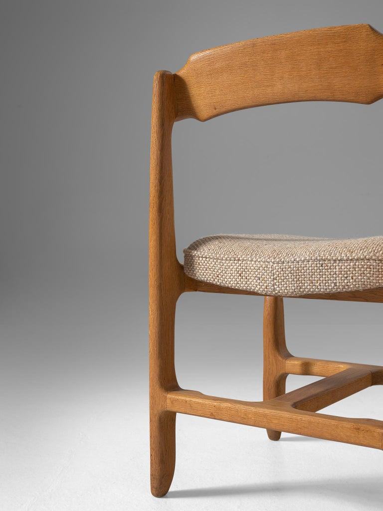 French Set of Twelve Guillerme et Chambron Dining Chairs in Solid Oak For Sale