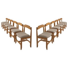 Set of Twelve Guillerme et Chambron Dining Chairs in Solid Oak