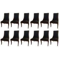 Set of Twelve Henredon Matching Dining Chairs with Black Velvet Upholstery