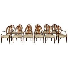 Set of Twelve Hepplewhite Chairs by Karges, 20th Century