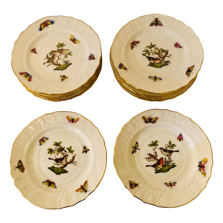 Set of Twelve Herend Rothschild Bird Hand Painted Bread or Appetizer Plates