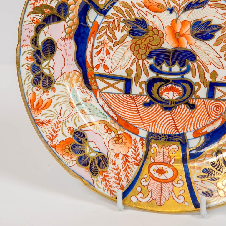 English Set of Twelve Imari Admiral Nelson Pattern Plates Made by Coalport, circa 1810 For Sale