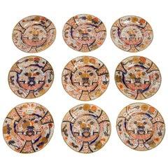 Set of Twelve Imari Admiral Nelson Pattern Plates Made by Coalport, circa 1810