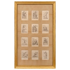 Set of Twelve Italian 19th Century Neoclassical Prints Set in a Giltwood Frame