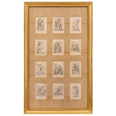 Set of Twelve Italian 19th Century Neoclassical Prints Set in a Giltwood Frame