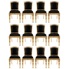 Set of Twelve Italian 19th Century Neoclassical Style Dining Chairs