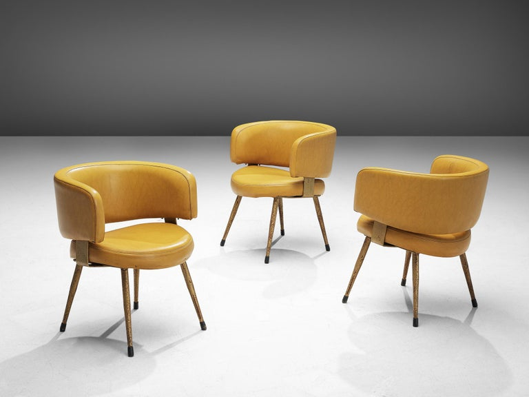 Mid-Century Modern Set of Twelve Italian Armchairs in Yellow Leatherette For Sale