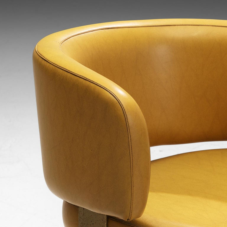 Late 20th Century Set of Twelve Italian Armchairs in Yellow Leatherette For Sale