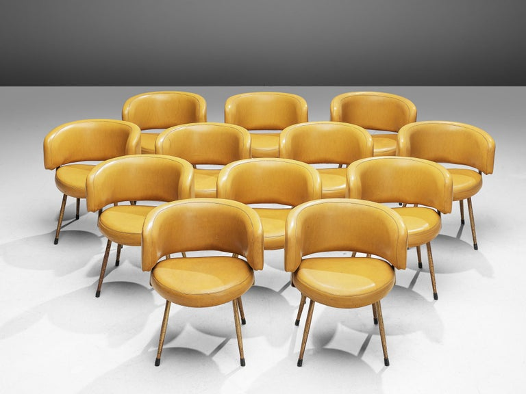 Metal Set of Twelve Italian Armchairs in Yellow Leatherette For Sale