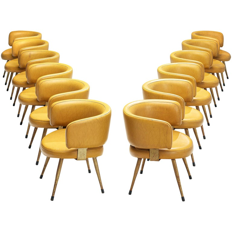 Set of Twelve Italian Armchairs in Yellow Leatherette For Sale