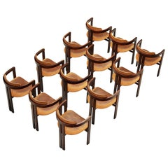 Set of Twelve Italian Armchairs with Architectural Bentwood Frame