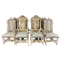 Set of Twelve Italian Carved Rococo Style Dining Chairs